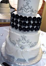 Elegant Black White And Silver Wedding Cake