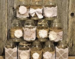 Mason Jar Wedding Centerpiece Rustic Decorations Burlap Jars White