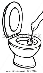 Hand Rubber Glove Cleaning Toilet Bowl Stock Vector