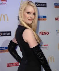 celebrities in leather mirja du mont wears long black leather gloves