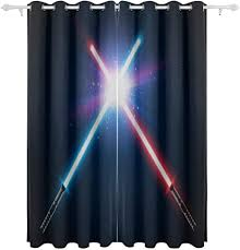 s ant wars lightsaber decorative hanging 2 panel set printed blackout window curtains for bedroom living room dining room window drapes 55x84