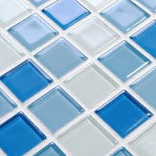 wholesale glass mosaic for swimming pool tile blue white mix