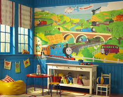 thomas the train wall decor colorful kids rooms