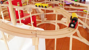 huge kids wooden train set video with chugging brio toy engine