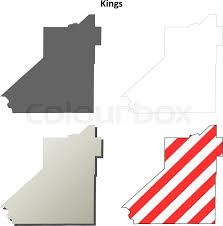Kings County California Blank Outline Map Set
