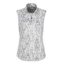Womens Summer Clothing Python Print Sleeveless Polo Shirt Greg Norman Ladies
