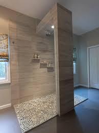 open shower bathroom design with goodly pebble shower floors
