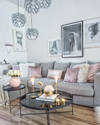 cool grey interior with a pop of pink and gold to warm it up