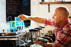 A Man Working Coffee Machine Making Stock Photo