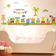 Happy Travel Animal Circus Train Children DIY Removable Wall Stickers Parlor Kids Bedroom Home House Decoration