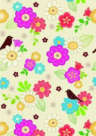 Scrapbook Paper Flowers And Bird Design
