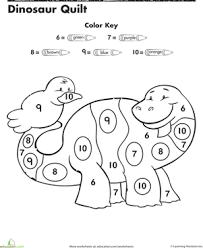 Preschool Math Worksheets Dinosaur Color By Number