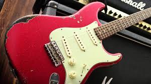 Fender Custom Shop 62 Strat Heavy Relic Red Sparkle Over Black