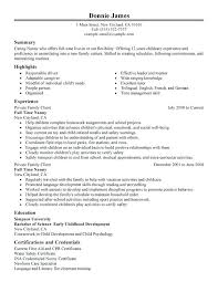 Sample Child Care Resume Caregiver