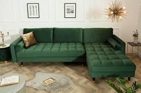 elegantes ecksofa cozy velvet 260cm grün samt federkern 3er