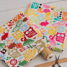 mm182 cute owl print linen cotton fabric wholesale suitable for