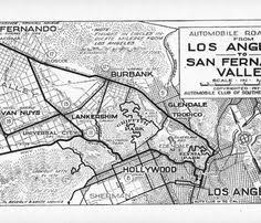 Automobile Road Map From Los Angeles To San Fernando Valley 1917 Club Of Southern California Collection 1892 1963