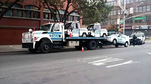 NYPD Field Support Division Tow Truck Loaded With Busted NYPD Cars ...