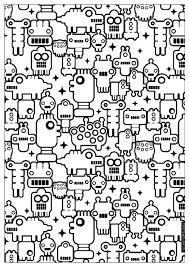 Adult Zen Anti Stress To Print Little Robots Coloring Pages Printable And Book For Free Find More Online Kids
