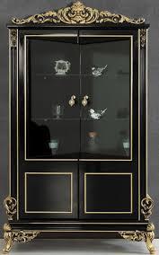 casa padrino luxus barock wohnzimmer vitrine schwarz gold 130 x 55 x h 210 cm prunkvoller barock vitrinenschrank mit 2 glastüren edle barock