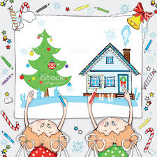 Girls Are Drawing Winter Landscape House And Christmas Tree Royalty Free