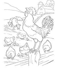 Farm Animal Coloring Page Free Printable Barn And A Rooster Sheets