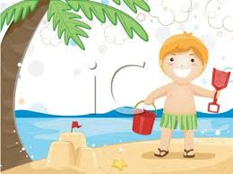 Royalty Free Clip Art Image Boy On Vacation At The Beach Making A Sandcastle