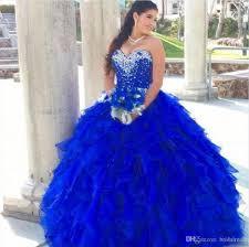 royal blue 2017 ball gown quinceanera dresses cascading ruffles