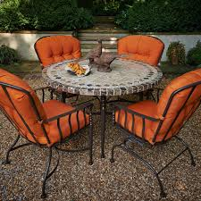 Meadowcraft Patio Furniture Cushions by Meadowcraft Athens Wrought Iron 5 Piece Patio Dining Set With