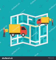 Vector Map Route Truck Process Delivery Stock Vector (Royalty Free ...