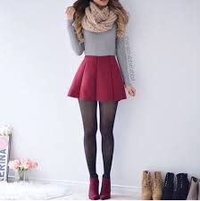 Skirt Cute Outfits Tumblr Girly Shirt Red Grey Sweater Top Tights Black