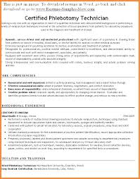 Example Of Resume Phlebotomist Also Technician Template
