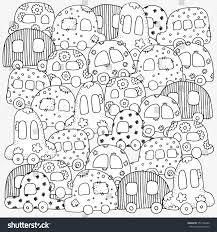 Pattern For Coloring Book With Doodle Style Hand Drawn Kids Cars A4 Size Magic