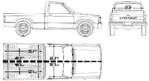 1990 Chevrolet S 10 Short Bed Pickup Truck blueprints free Outlines