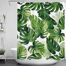 lb grün blätter duschvorhang anti schimmel tropische pflanzen bad vorhang monstera wasserdicht polyester stoff badezimmer vorhänge mit haken 150x180cm