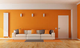 Orange Couch In Modern Living Room Stock Image Image of lamp