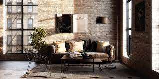 Living Room Industrial Sofa Home Design Rustic Bed Retro Furniture Exposed Brick Wall