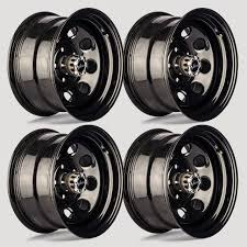 100 16 Truck Wheels A2I Set 4 Vision 85 Soft 8 Gloss Black Steel X8 5x5