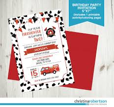 Firefighter Birthday Invitation Fire Truck Birthday Party | Etsy