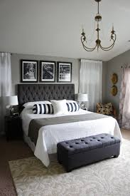 Black Headboard Gray Walls Bedroom
