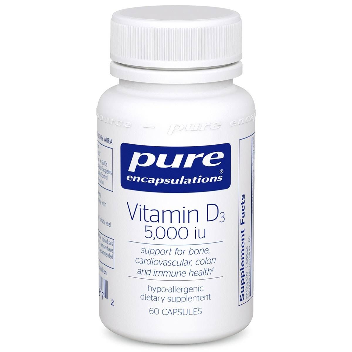 Pure Encapsulations Vitamin D3 Dietary Supplement - 60 Capsules, 5,000 IU