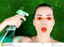 Tanning Bed Eye Protection by Woman Wearing Tanning Bed Glasses With Strawberry Stock