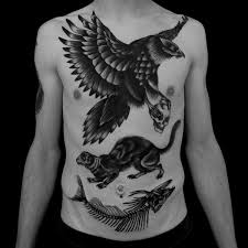 Cool Black And Gray Tattoos Around Belly Button