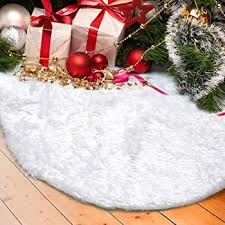 Marry Acting 36 Inch Luxury Faux Fur Christmas Tree Skirt Soft Snow White Mat