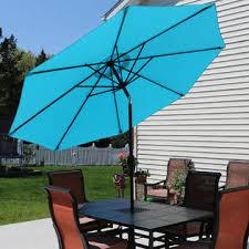 9 Ft Patio Umbrellas With Tilt by Sunnydaze Decor Ecg 175 Turquoise Aluminum 9 Foot Patio Umbrella