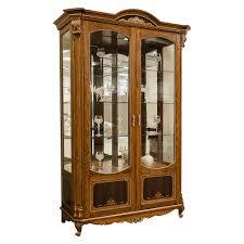 alba 2 türiger vitrinenschrank mit glasvitrine antik naturholz eiche braun cognac