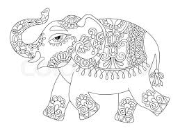 Ethnic Indian Elephant Line Original Drawing Adults Coloring Book Page