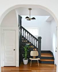 Love The Charcoal Grey Color Of Stairs Against White Walls And Warm