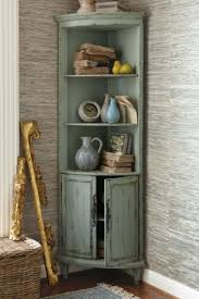Maldives Corner Cabinet Distressed Pale Green Open Shelf