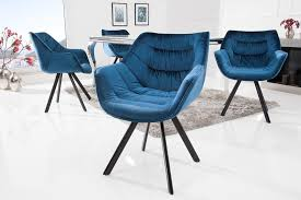 esszimmerstuhl blau samt mit armlehne retro look